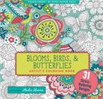 Adult level coloring book with bird, feather, and bird, butterfly designs