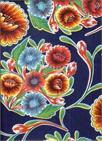 Oil Cloth Blooms on Navy Fabric, Yardage Floral Pattern