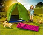 "This fun set includes a 6"" articulated doll, camping tent, sleeping bag, dog and camera. Time to pack up and head out for a fun-filled Breyer adventure with this Camping Adventure Play Set #62049."