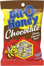 Bit-O-Honey is a bite-sized candy chew with almond bits blended into a honey flavored taffy then dipped in chocolate. Delicious, sweet, and chewy combine into an irresistible candy treat. Bit O Honey candy is known for its long lasting chewiness.