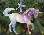 Create your own holiday fairytale! Cosmo is an eye-catching unicorn with a dazzling metallic coat that fades from purple to seafoam, and shining golden hooves and horn. Breyer's 2020 Holiday series. Resin construction Christmas Unicorn Ornament. Breyer Mo