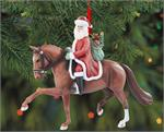 Riding a beautiful chestnut Warmblood, Santa is showing off his dressage skills while performing the extended trot in this resin Christmas ornament by Breyer Horses. ♫ Here comes Santa Claus, here comes Santa Claus, riding down the centerline! ♫ Breyer Mo