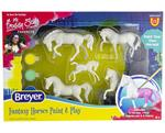 Enjoy one of Breyer's most popular activities at home! Stablemates Painting! Five horses, each base coated and ready to paint! Includes: 5 Stablemates horses, 6 fantasy color paint pots, and 1 paintbrush. A fun activity for the whole family!