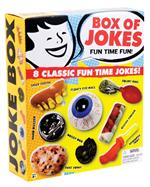 Schylling Toys Jumbo Boxe of Jokes #JBOX  Schylling Toys Jumbo Boxe of Jokes #JBOXThe joke's on you with this Jumbo Joke Box. Box comes with 8 classic gags in one package! Includes goofy teeth, hand buzzer, floating eyeball, vomit, a bandaged finger, fake