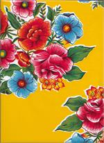 The Lady Bird on sunshiny Yellow oilcloth features a vibrant green background with bold floral pattern in light blue, orange, yellow, pink, and red.