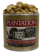lantation Peanuts of Wakefield Classic Lightly Salted Peanuts, 12 ounce tin  These gourmet roasted peanuts from Plantation Peanuts set the standard for superior taste and quality! Only the largest and freshest locally grown, Virginian raw peanuts are sele
