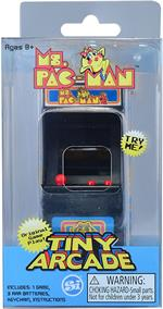 World's Smallest Ms. Pac Man Tiny Arcade Electronic Game #375  Officially licensed miniature replica of the vintage original ms. PAC-MAN video arcade game. Its tiny - overall measures less than 4 x 2 x 2 inches with a 1 1/2 x 1 inch screen. The play is bi