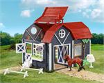 Breyer Stablemates Size Riding Stable has 2 hinged roof sections for easy access to the interior, and working doors. Breyer's #59212 Riding Stable Play Set Includes: barn, Stablemates Cob horse, 2 cavalettis, easel and 3 easel cards.