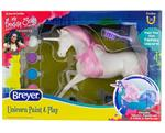 Painting is a beloved activity by Breyer fans of all ages, and now there's a unicorn they'll want to add to their herd! This fun kit includes everything needed to paint a colorful unicorn: 1 unpainted unicorn, 1 paintbrush, 6 paint pots, and 1 hairbrush.