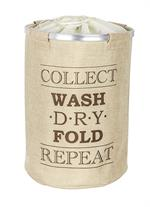 The trendy laundry collector Ringo in fresh, modern beige with lettering adds style to bathroom or bedroom.